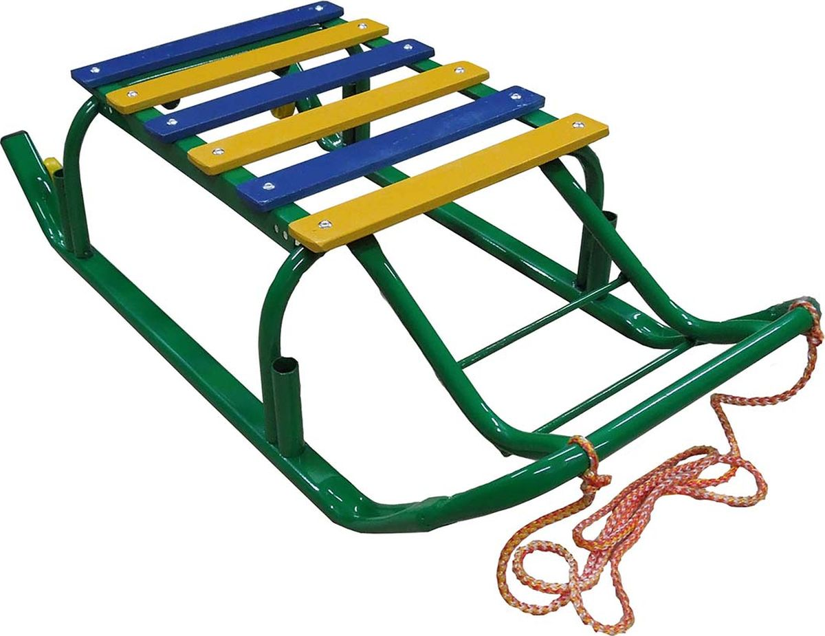 """Санки детские Эх, Прокачу! """"Лидер-3"""", с колесиками, цвет: зеленый, 75 x 35 x 17 см"""
