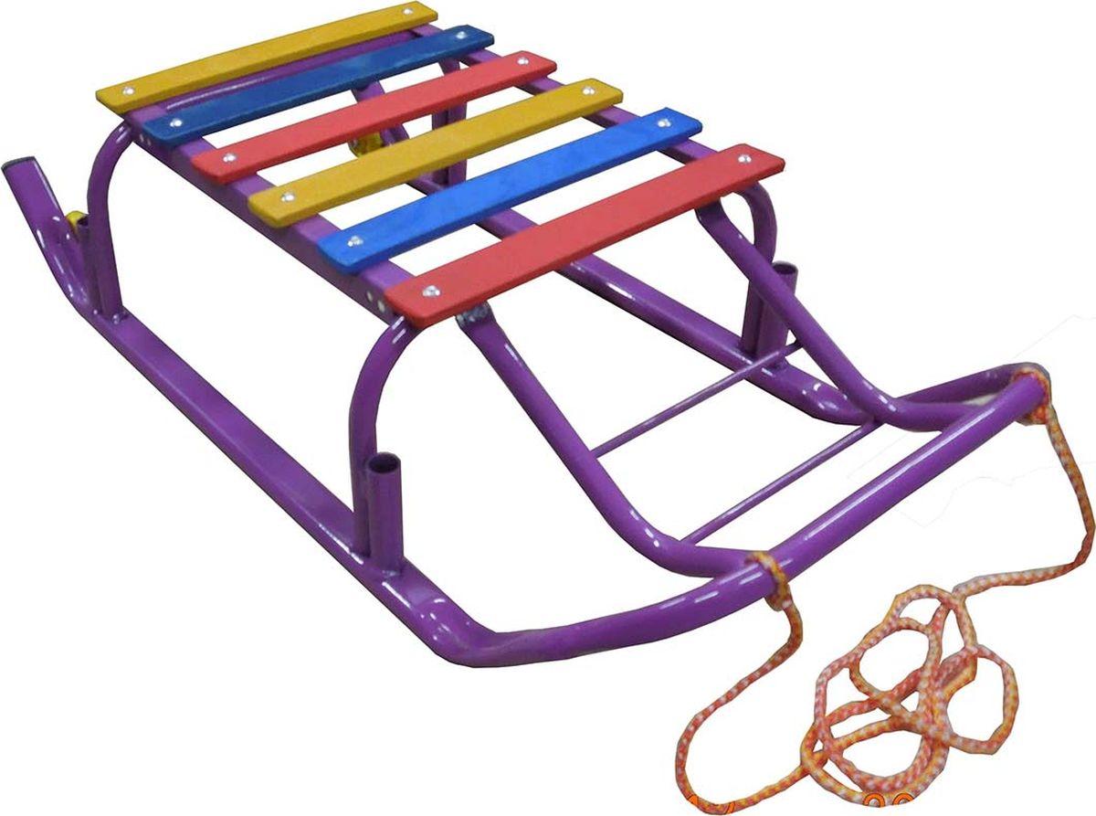 """Санки детские Эх, Прокачу! """"Лидер-3"""", с колесиками, цвет: фиолетовый, 75 x 35 x 17 см"""