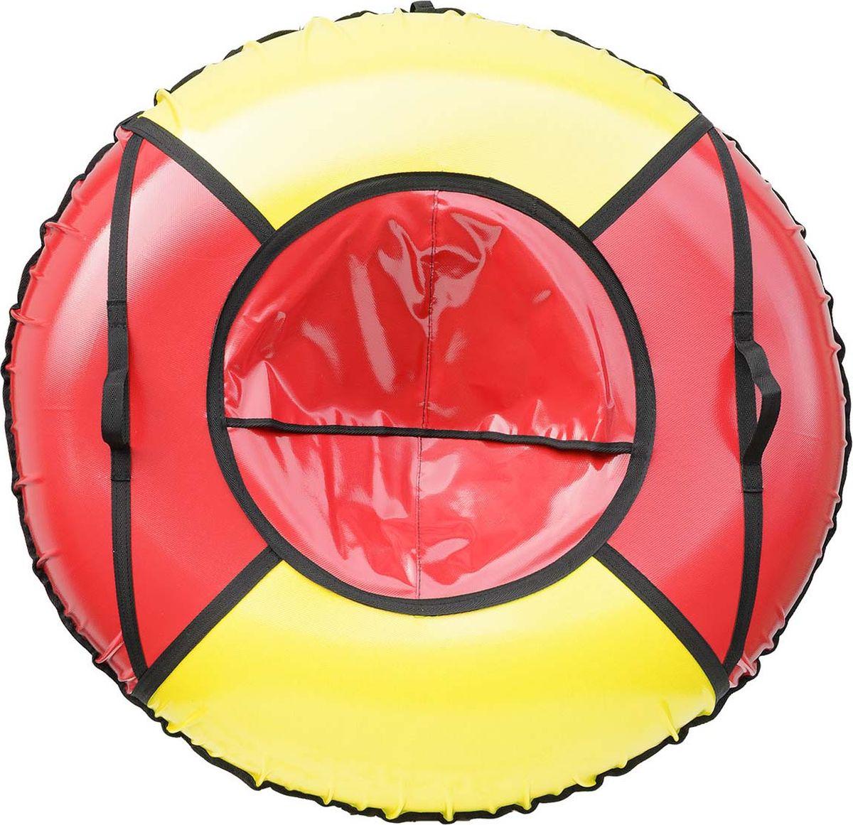 Тюбинг Эх, Прокачу! Профи-4, цвет: красный, желтый, 100 смСП100-4-1Качественные бюджетные санки-ватрушки для катания по снегу из 4 секций * размеры указаны в надутом состоянии * дно изготовлено из ткани ПВХ 630г/м2 * верх изготовлен из ткани ПВХ 630гр/м2 * камера российского производства * буксировочный ремень * морозоустойчивость -45 * допускается деформация формы санок из-за неравномерности надутия камеры