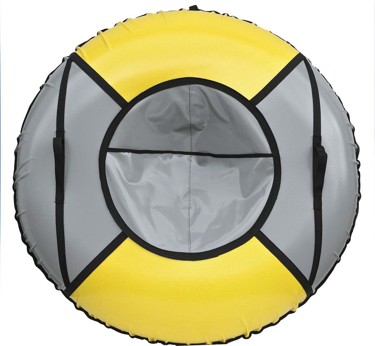 Тюбинг Эх, Прокачу! Профи-4, цвет: серый, желтый, диаметр 100 смСП100-4-3Качественные бюджетные санки-ватрушки для катания по снегу из 4 секций * размеры указаны в надутом состоянии * дно изготовлено из ткани ПВХ 630г/м2 * верх изготовлен из ткани ПВХ 630гр/м2 * камера российского производства * буксировочный ремень * морозоустойчивость -45 * допускается деформация формы санок из-за неравномерности надутия камеры