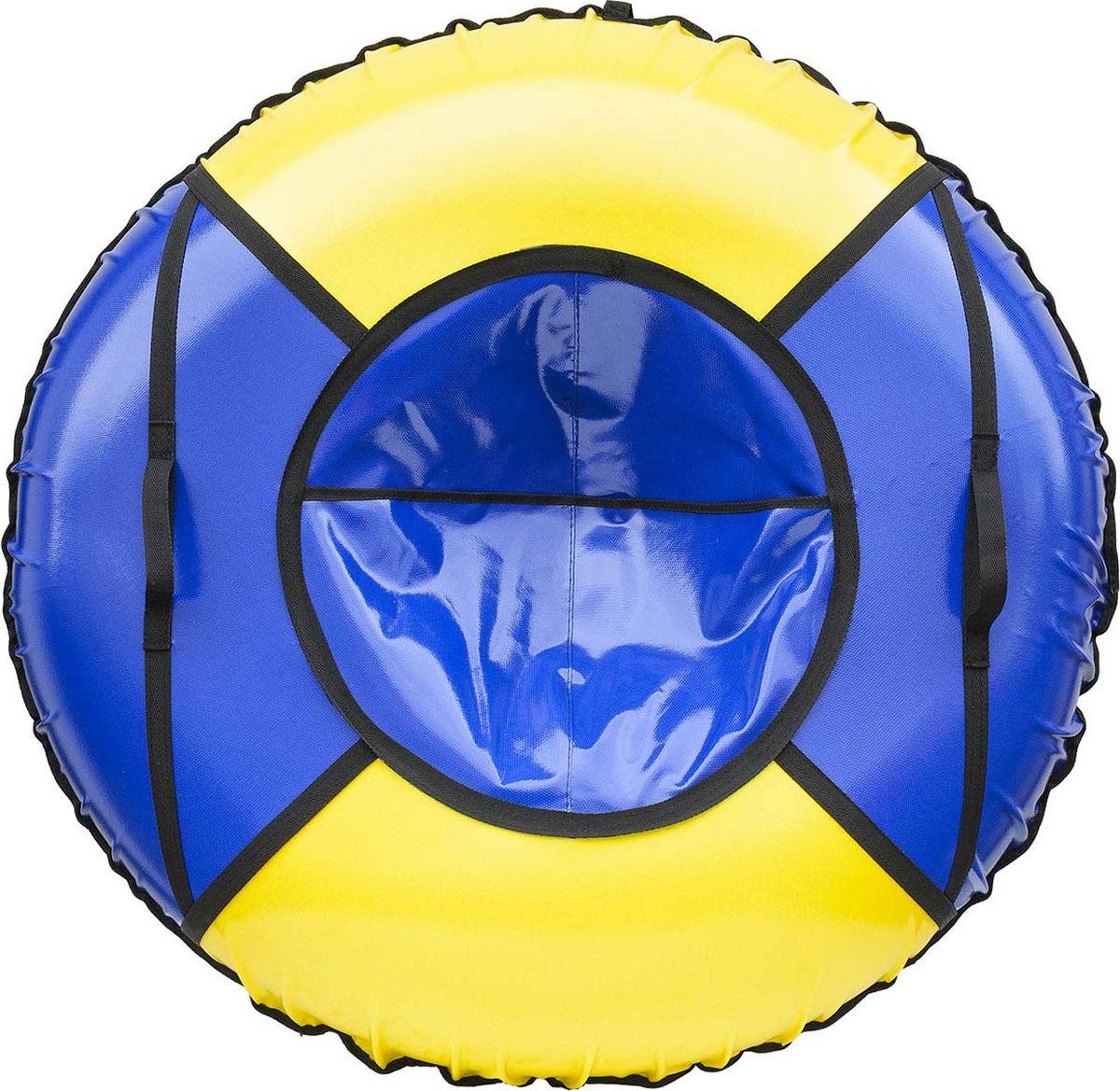 Тюбинг Эх, Прокачу! Профи-4, цвет: синий, желтый, 115 смСП115-4-2Качественные бюджетные санки-ватрушки для катания по снегу из 4 секций * размеры указаны в надутом состоянии * дно изготовлено из ткани ПВХ 630г/м2 * верх изготовлен из ткани ПВХ 630гр/м2 * камера российского производства * буксировочный ремень * морозоустойчивость -45 * допускается деформация формы санок из-за неравномерности надутия камеры