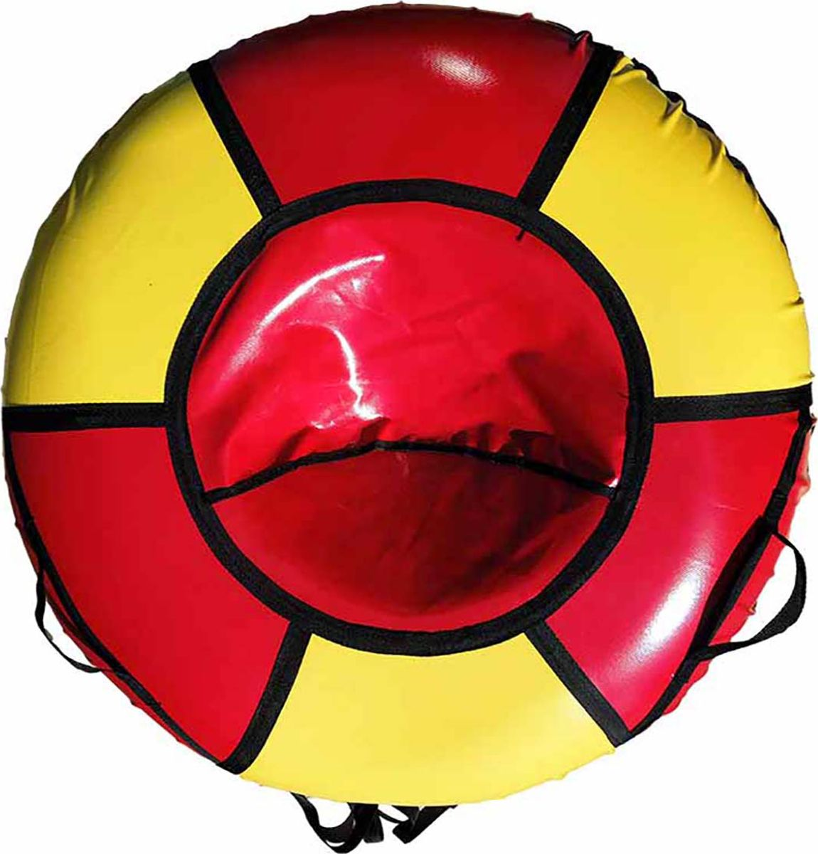 Тюбинг Эх, Прокачу! Профи-6, цвет: красный, желтый, 115 смСП115-6-1Качественные бюджетные санки-ватрушки для катания по снегу из 6 секций * размеры указаны в надутом состоянии * дно изготовлено из ткани ПВХ 630г/м2 * верх изготовлен из ткани ПВХ 630гр/м2 * камера российского производства * буксировочный ремень * морозоустойчивость -45 * допускается деформация формы санок из-за неравномерности надутия камеры