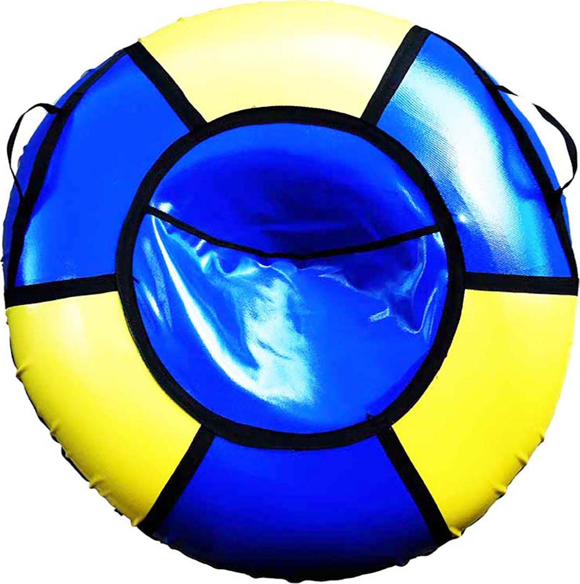 Тюбинг Эх, Прокачу! Профи-6, цвет: синий, желтый, 115 смСП115-6-2Качественные бюджетные санки-ватрушки для катания по снегу из 6 секций * размеры указаны в надутом состоянии * дно изготовлено из ткани ПВХ 630г/м2 * верх изготовлен из ткани ПВХ 630гр/м2 * камера российского производства * буксировочный ремень * морозоустойчивость -45 * допускается деформация формы санок из-за неравномерности надутия камеры