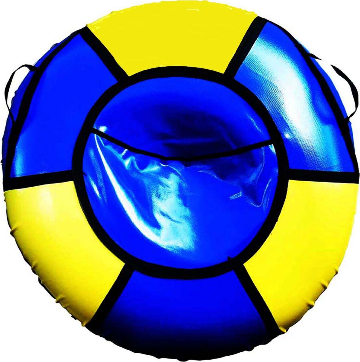 Тюбинг Эх, Прокачу! Профи-6, цвет: синий, желтый, 85 смСП85-6-2Качественные бюджетные санки-ватрушки для катания по снегу из 6 секций * размеры указаны в надутом состоянии * дно изготовлено из ткани ПВХ 630г/м2 * верх изготовлен из ткани ПВХ 630гр/м2 * камера российского производства * буксировочный ремень * морозоустойчивость -45 * допускается деформация формы санок из-за неравномерности надутия камеры