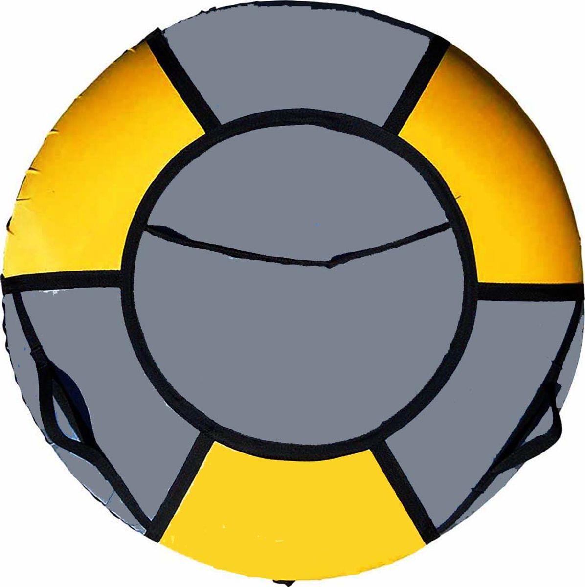 Тюбинг Эх, Прокачу! Профи-6, цвет: серый, желтый, 85 смСП85-6-3Качественные бюджетные санки-ватрушки для катания по снегу из 6 секций * размеры указаны в надутом состоянии * дно изготовлено из ткани ПВХ 630г/м2 * верх изготовлен из ткани ПВХ 630гр/м2 * камера российского производства * буксировочный ремень * морозоустойчивость -45 * допускается деформация формы санок из-за неравномерности надутия камеры