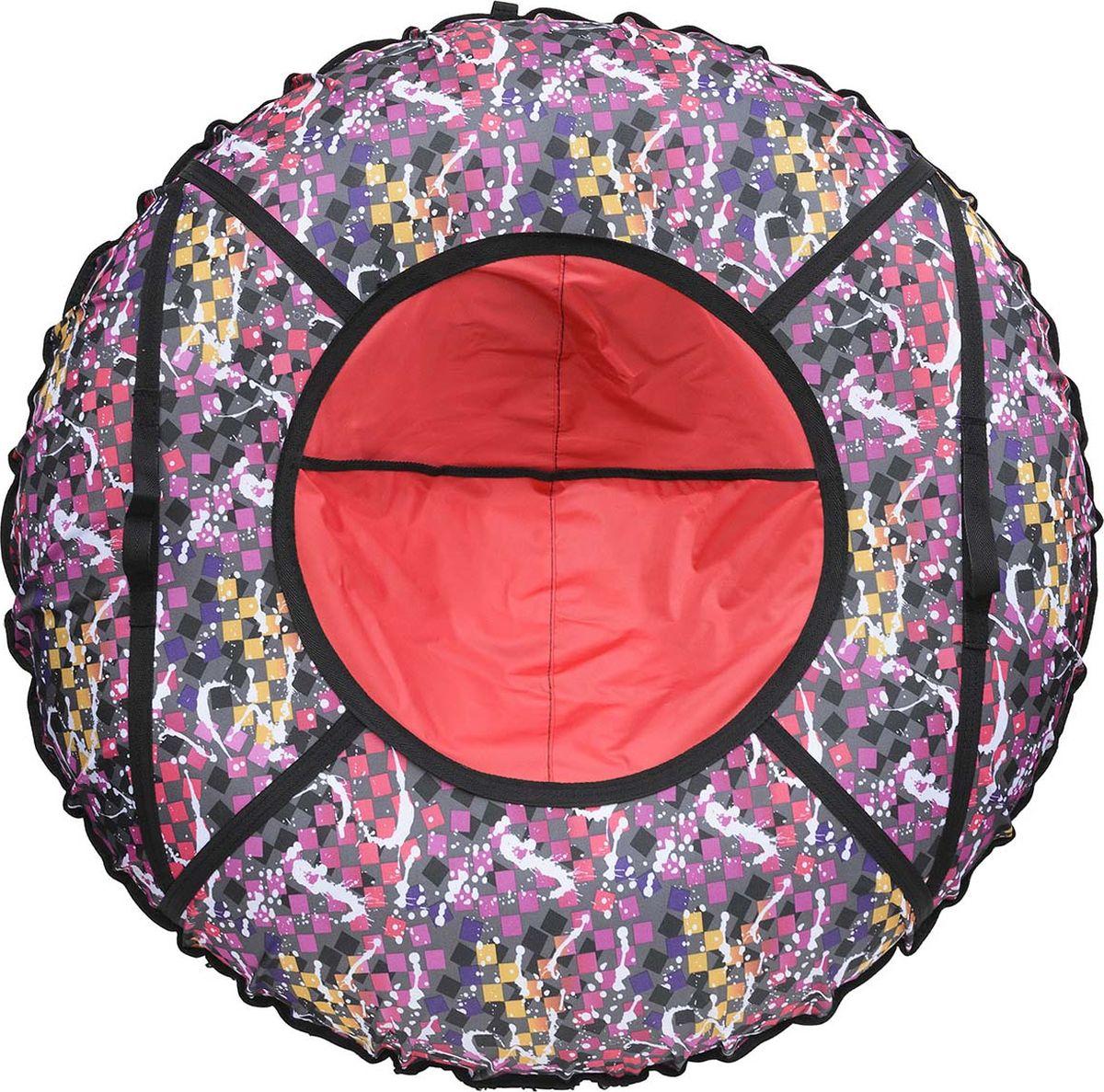 Тюбинг Эх, Прокачу!  Принт. Кубики , цвет: красный, фиолетовый, диаметр 70 см - Катаемся с горки