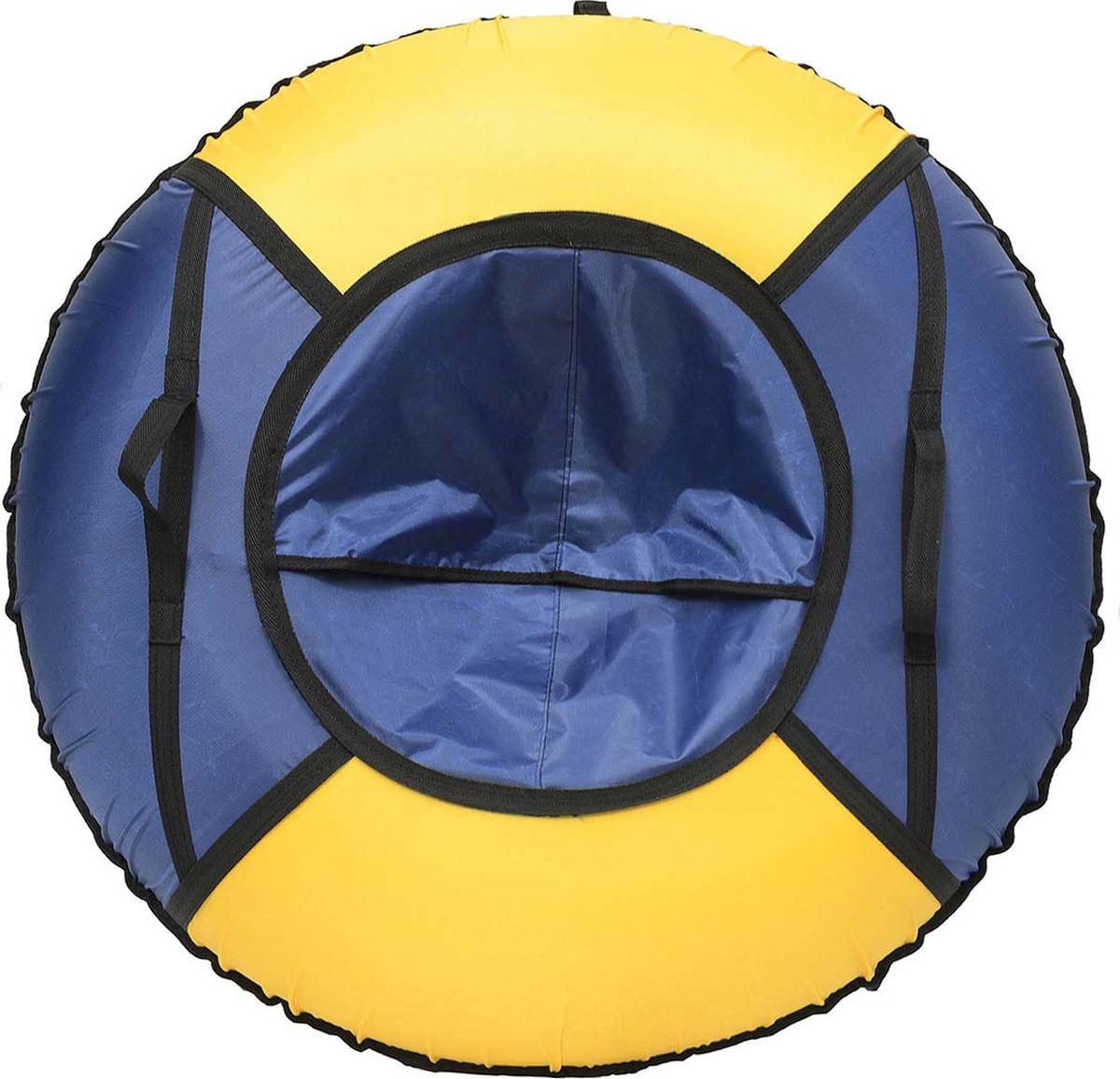 Тюбинг Эх, Прокачу! Эконом-4, цвет: синий, желтый, 85 смСЭ85-4-2Качественные бюджетные санки-ватрушки для катания по снегу из 4 секций * размеры указаны в надутом состоянии * дно изготовлено из ткани ПВХ 630г/м2 * верх изготовлен из ткани Oxford 420гр/м2 * камера российского производства * буксировочный ремень * морозоустойчивость -45 * допускается деформация формы санок из-за неравномерности надутия камеры