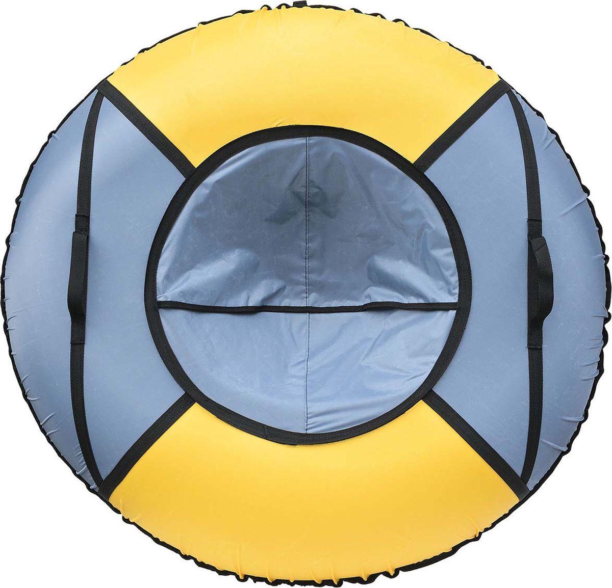 Тюбинг Эх, Прокачу! Эконом-4, цвет: серый, желтый, 85 смСЭ85-4-3Качественные бюджетные санки-ватрушки для катания по снегу из 4 секций * размеры указаны в надутом состоянии * дно изготовлено из ткани ПВХ 630г/м2 * верх изготовлен из ткани Oxford 420гр/м2 * камера российского производства * буксировочный ремень * морозоустойчивость -45 * допускается деформация формы санок из-за неравномерности надутия камеры