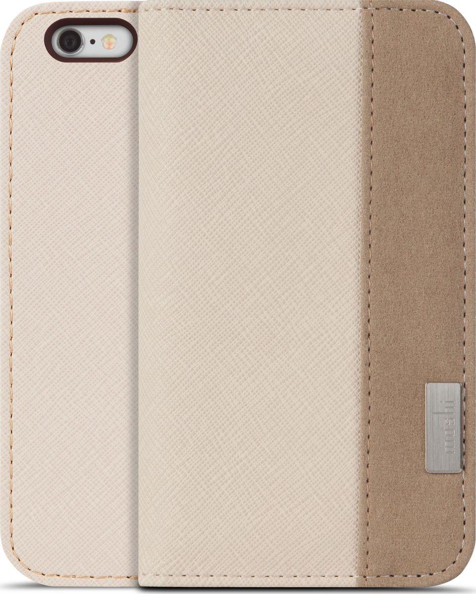 Moshi Overture для iPhone 6/6S, Beige99MO052101Overture - это компактный бумажник, позволяющий совместно хранить кредитные карты, деньги и iPhone. Внешнее водонепроницаемое покрытие кожи дополняется мягкой подкладкой из микрофибры Terahedron, красивой на вид и приятной на ощупь, одновременно обеспечивающей защиту вашего устройства. Жёсткий каркас бумажника обеспечивает защиту устройства при падении по оборонным стандартам. Все кнопки управления и камеры остаются в полной мере доступными, так что вам не придётся каждый раз доставать iPhone, когда вы стремитесь сделать снимок или снять видео. Лёгким движением Overture превращается в удобную стойку для просмотра видео или работы в интернете. В комплект входит многоразовая подушечка Neato для очистки устройства, благодаря которой тачскрин всегда будет свободен от следов пальцев и жирных разводов.ХарактеристикиПолная защита от воздействия ударов и появления царапин на 360 градусов.Удобный для просмотра видео и работы в интернете дизайн.Три слота для карт и карман во всю длину для дополнительных объектов хранения.Все кнопки и камеры телефона доступны во время использования чехла.В состав входит многоразовая подушечка из микрофибры Neato™ для очистки экрана.
