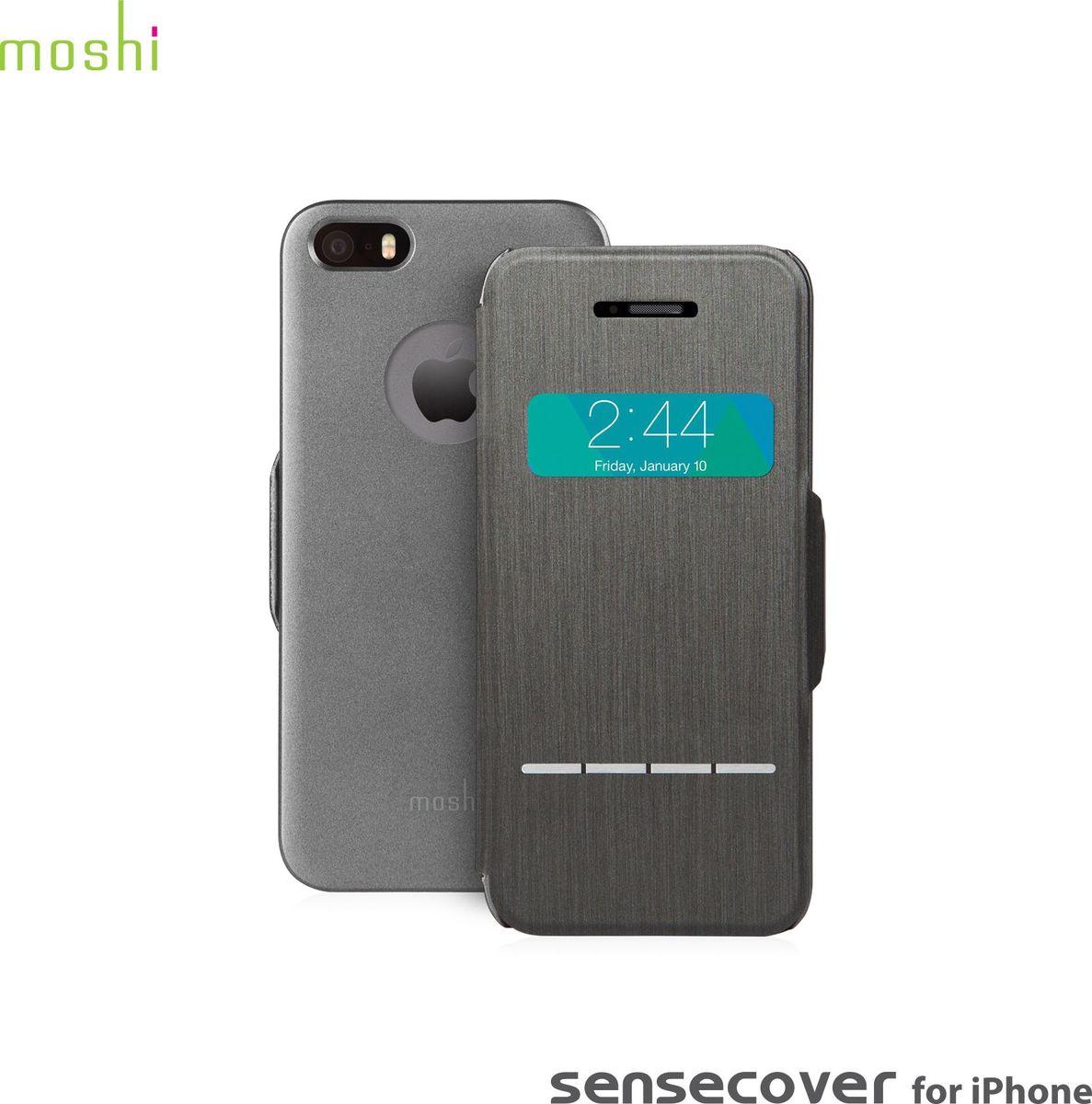 Moshi SenseCoverчехол дляiPhone 5/5s, Steel Black99MO072001Оригинально спроектированный, чехол Moshi SenseCover обеспечивает наилучшую функциональность и полную защиту вашего нового iPhone. Передняя часть включает в себя четыре сегмента SensArray, которые позволяют вам отвечать на звонки или сбрасывать их, выключать будильник и выполнять некоторые другие операции, при этом не имея необходимости открывать чехол. Идеальный тандем с iVisor для особой безопасности. Элегантный с виду и очень функциональный SenseCover обеспечит настоящее удовольствие при его эксплуатации.Характеристики:Всесторонняя защита устройства с тонкой передней обложкой из мягкого микроволокна.Проверяйте дату/время, отвечайте и отклоняйте звонки, просматривайте оповещения, не открывая чехла.Магнитный зажим сохранит покрытие закрытым.Все кнопки и обе камеры остаются полностью доступными.