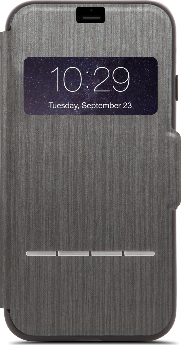 Moshi SenseCover чехол для iPhone 7 Plus/8 Plus, Charcoal Black99MO072009Сенсорный чехол Moshi SenseCover - это своеобразно спроектированный защитный чехол-флип, который расширяет функционал и защищает Ваш новый iPhone со всех 360 градусов. Встроенные сенсорные подушечки SenseArray, расположенные на передней части чехла, позволяют отвечать на звонки и говорить по телефону, не открывая чехол. Это идеальное решение для тех, кто ценит практичность в движении. Кроме этого, устойчивое к царапинам окошко позволяет Вам просматривать наиболее важную информацию, такую как дата, время, день недели и имя или номер звонящего. SenseCover надежно защищает Ваш iPhone не только от царапин, но и от ударов и падений. Тонкая передняя крышка из мягкого микроволокна позаботится о чистоте Вашего сенсорного экрана. SenseCover имеет удобный складной дизайн для просмотра видео. В SenseCover также имеется магнитная застежка, которая не позволит чехлу открыться в неподходящий момент. Элегантный с виду и очень функциональный SenseCover обеспечит настоящее удовольствие при его эксплуатации.ХарактеристикиПолная защита устройства и сенсорная передняя часть чехла.Проверяйте дату, время, отвечайте и отклоняйте звонки, просматривайте оповещения, не открывая чехла.Защита от ударов по оборонным стандартам США (MIL-STD0810G, сертификат SGS).Удобный складной дизайн для просмотра видео на Вашем iPhone.Магнит, который сохраняет чехол в закрытом состоянии.Сохранен легкий доступ ко всем кнопкам и камере.Лёгкие и долговечные материалы.Поддерживает беспроводную зарядку.