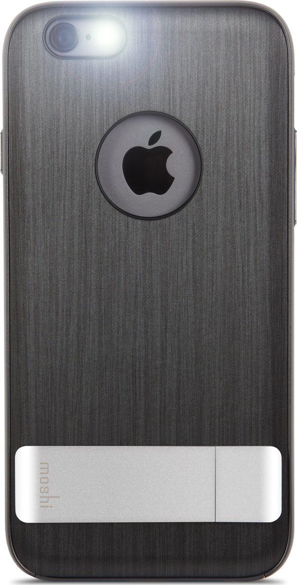 Moshi Kameleon чехол для iPhone 6/6S, Black99MO079022Утончённый чехол-подставка Kameleon для iPhone от Moshi позволяет с удобством просматривать видео, одновременно обеспечивая стильную защиту устройства. Гибридная конструкция обеспечивает эффективную защиту от ударов и падений. Ещё более тонкая, чем прежде, алюминиевая подставка обеспечивает возможность устанавливать iPhone как в горизонтальном, так и вертикальном положении, что позволяет просматривать видео без помощи рук. Kameleon разработан для повседневного применения и идеален для потребителей, стремящихся к наилучшему сочетанию функциональности и защиты.ХарактеристикиЭлегантный чехол с прочной алюминиевой подставкой.Защита от падений.Комфортный просмотр видео как в портретном, так и пейзажном режимах.Приподнятые края чехла защищает экран iPhone, когда он лежит дисплеем вниз.Изготовлен из лёгких и прочных материалов.