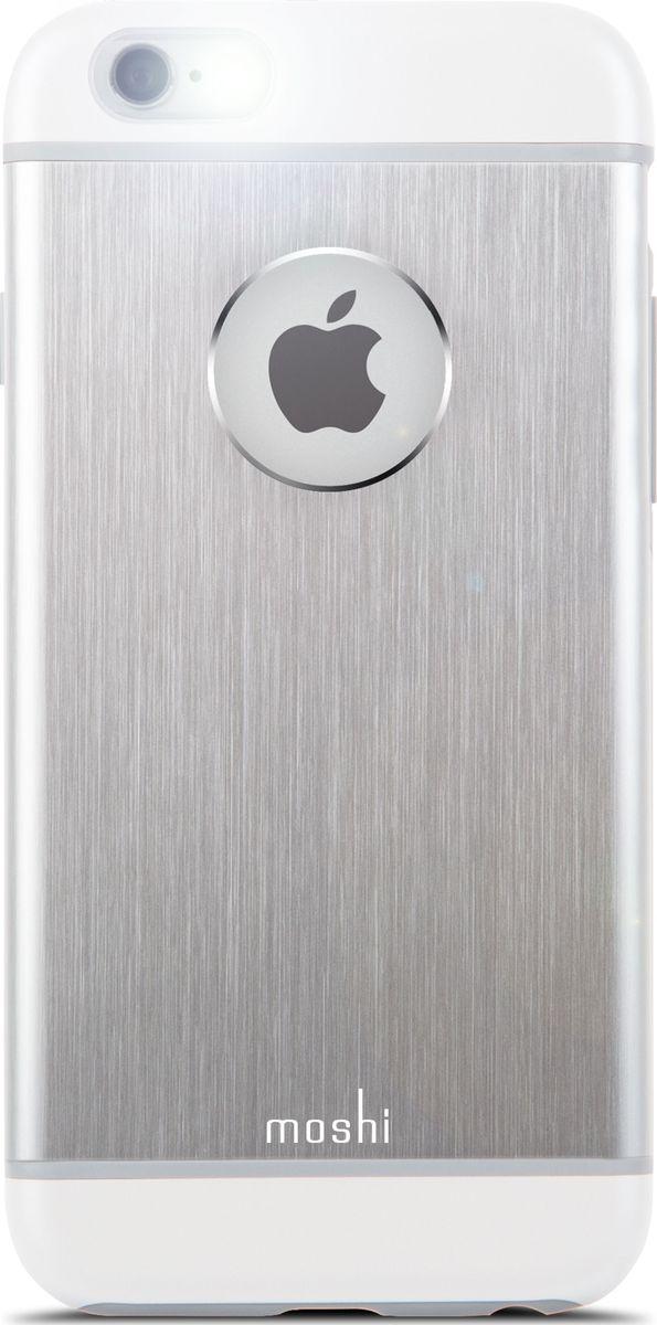 Moshi Armour чехол для iPhone 6/6S, Silver99MO079201Чехол Moshi iGlaze Armour выполненный из алюминия с алмазной огранкой в оболочке из поликарбоната. Он станет прекрасной защитой для Вашего iPhone 6/6s. Красивый и приятный на ощупь, он только подчеркнет все достоинства и преимущества дизайна Вашего гаджета. Завышенные края чехла обеспечивают безопасность экрана, когда iPhone лежит дисплеем вниз. Чехол повторяет все линии iPhone 6/6s в своей особой манере, при этом защищая заднюю часть корпуса и его боковые грани.ХарактеристикиСпециальная алюминиевая накладка с алмазной обработкой.Основной каркас чехла состоит из поликарбоната, который защищает находящийся внутри него телефон от ударов и повреждений.Полная защита кнопок регулировки громкости и управления питанием.Завышенные края чехла обеспечивают безопасность экрана, когда iPhone лежит дисплеем вниз.???Прошёл необходимые тестирования по защите устройства от различных видов воздействия.