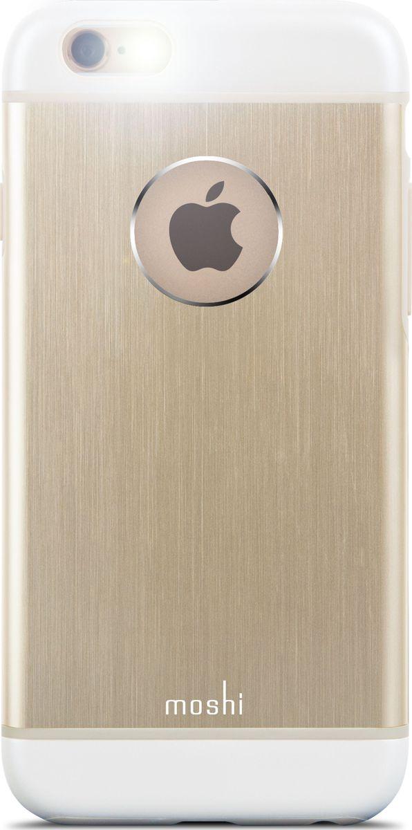 Moshi Armour чехол для iPhone 6/6S, Gold99MO079251Чехол Moshi iGlaze Armour выполненный из алюминия с алмазной огранкой в оболочке из поликарбоната. Он станет прекрасной защитой для Вашего iPhone 6/6s. Красивый и приятный на ощупь, он только подчеркнет все достоинства и преимущества дизайна Вашего гаджета. Завышенные края чехла обеспечивают безопасность экрана, когда iPhone лежит дисплеем вниз. Чехол повторяет все линии iPhone 6/6s в своей особой манере, при этом защищая заднюю часть корпуса и его боковые грани.ХарактеристикиСпециальная алюминиевая накладка с алмазной обработкой.Основной каркас чехла состоит из поликарбоната, который защищает находящийся внутри него телефон от ударов и повреждений.Полная защита кнопок регулировки громкости и управления питанием.Завышенные края чехла обеспечивают безопасность экрана, когда iPhone лежит дисплеем вниз.???Прошёл необходимые тестирования по защите устройства от различных видов воздействия.