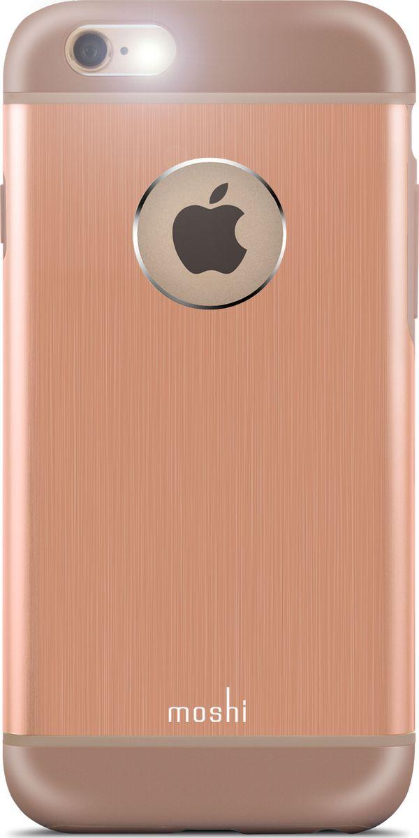 Moshi Armour чехол для iPhone 6/6S, Sunset Copper99MO079303Чехол Moshi iGlaze Armour выполненный из алюминия с алмазной огранкой в оболочке из поликарбоната. Он станет прекрасной защитой для Вашего iPhone 6/6s. Красивый и приятный на ощупь, он только подчеркнет все достоинства и преимущества дизайна Вашего гаджета. Завышенные края чехла обеспечивают безопасность экрана, когда iPhone лежит дисплеем вниз. Чехол повторяет все линии iPhone 6/6s в своей особой манере, при этом защищая заднюю часть корпуса и его боковые грани.ХарактеристикиСпециальная алюминиевая накладка с алмазной обработкой.Основной каркас чехла состоит из поликарбоната, который защищает находящийся внутри него телефон от ударов и повреждений.Полная защита кнопок регулировки громкости и управления питанием.Завышенные края чехла обеспечивают безопасность экрана, когда iPhone лежит дисплеем вниз.???Прошёл необходимые тестирования по защите устройства от различных видов воздействия.