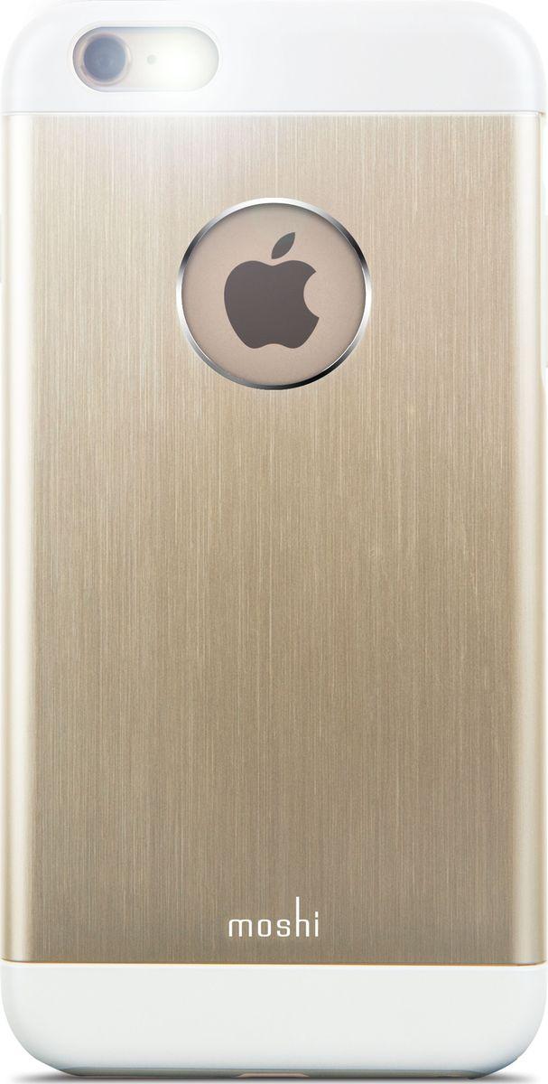 Moshi Armour чехол для iPhone 6 Plus/6S Plus, Gold99MO080251Чехол Moshi iGlaze Armour выполнен из алюминия с алмазной огранкой. Он станет прекрасной защитой для вашегоiPhone. Красивый и приятный на ощупь, он только подчеркнет все достоинства и преимущества дизайна вашегогаджета. Завышенные края чехла обеспечивают безопасность экрана, когда iPhone лежит дисплеем вниз. Чехолповторяет все линии iPhone в своей особой манере, при этом защищая заднюю часть корпуса и его боковые грани.Специальная алюминиевая накладка с алмазной обработкой. Основной каркас чехла состоит из поликарбоната, который защищает находящийся внутри него телефон отударов и повреждений. Полная защита кнопок регулировки громкости и управления питанием. Завышенные края чехла обеспечивают безопасность экрана, когда iPhone лежит дисплеем вниз. Прошёл необходимые тестирования по защите устройства от различных видов воздействия.