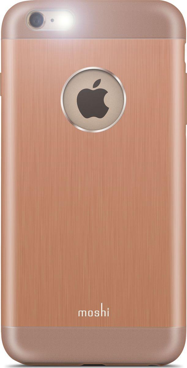 Moshi Armour чехол для iPhone 6 Plus/6S Plus, Sunset Copper99MO080303Чехол Moshi iGlaze Armour выполнен из алюминия с алмазной огранкой. Он станет прекрасной защитой для Вашего iPhone. Красивый и приятный на ощупь, он только подчеркнет все достоинства и преимущества дизайна Вашего гаджета. Завышенные края чехла обеспечивают безопасность экрана, когда iPhone лежит дисплеем вниз. Чехол повторяет все линии iPhone в своей особой манере, при этом защищая заднюю часть корпуса и его боковые грани.ХарактеристикиСпециальная алюминиевая накладка с алмазной обработкой.Основной каркас чехла состоит из поликарбоната, который защищает находящийся внутри него телефон от ударов и повреждений.Полная защита кнопок регулировки громкости и управления питанием.Завышенные края чехла обеспечивают безопасность экрана, когда iPhone лежит дисплеем вниз.???Прошёл необходимые тестирования по защите устройства от различных видов воздействия.