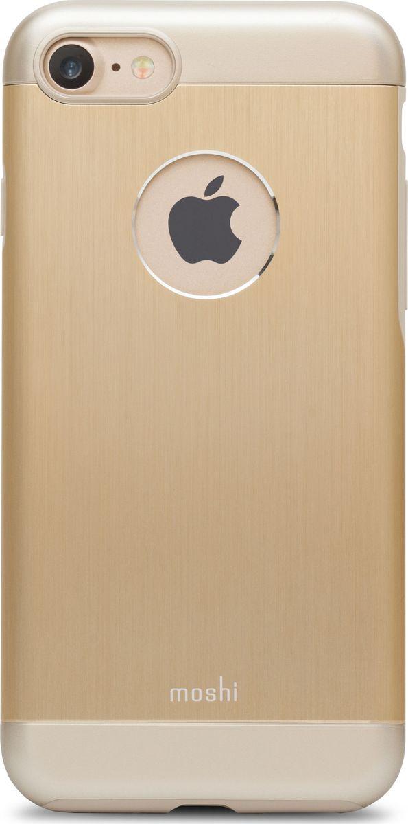 Moshi Armour чехол для iPhone 7/8, Satin Gold99MO088231Элегантный чехол Moshi Armour выполнен из алюминия с алмазной огранкой. Он станет прекрасной защитой для вашего iPhone 7 и iPhone 8. Красивый на вид и приятный на ощупь, он только подчеркнет все достоинства и преимущества дизайна iPhone. Завышенные края чехла обеспечивают безопасность экрана, когда iPhone лежит дисплеем вниз. Чехол повторяет все линии iPhone 7 и iPhone в своей особой манере, при этом защищая заднюю часть корпуса и его боковые грани.