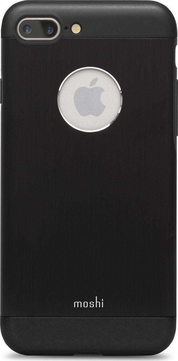 Moshi Armour чехол для iPhone 7 Plus/8 Plus, Onxy Black99MO090004Элегантный чехол Moshi Armour выполнен из алюминия с алмазной огранкой. Он станет прекрасной защитой для Вашего iPhone 7 Plus. Красивый на вид и приятный на ощупь, он только подчеркнет все достоинства и преимущества дизайна iPhone. Завышенные края чехла обеспечивают безопасность экрана, когда iPhone лежит дисплеем вниз. Чехол повторяет все линии iPhone 7 Plus в своей особой манере, при этом защищая заднюю часть корпуса и его боковые грани.ХарактеристикиАлюминий премиум класса с алмазной обработкой.Основной каркас чехла состоит из поликарбоната, который защищает находящийся внутри телефон от ударов и повреждений.Полная защита кнопок регулировки громкости и питания.Завышенные края чехла обеспечивают безопасность экрана, когда iPhone лежит дисплеем вниз.??????Обеспечивает защиту от падения согласно оборонным стандартам США (MIL-STD-810G, SGS-certified).