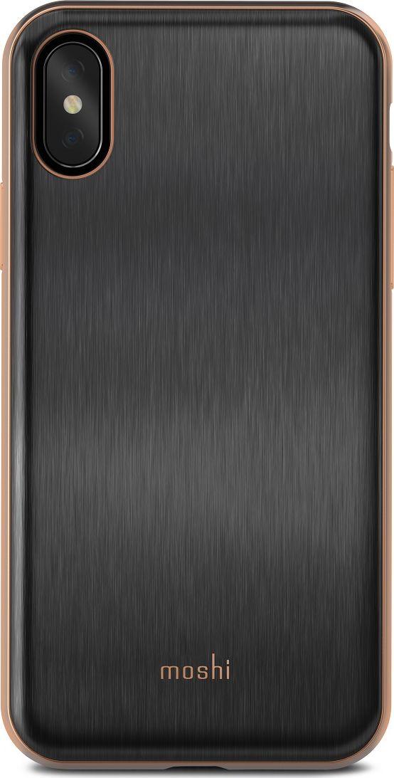 Moshi iGlaze чехол для iPhone X, Black Gold99MO101001Moshi iGlaze - чехол с гибридной конструкцией, которая сочетает в себе дизайн, функциональность и защиту при падениях. Новый ударостойкий каркас чехла создан с использованием запатентованного компанией Moshi процесса испарения металлов, обеспечивает элегантную, блестящую поверхность, которая является одновременно стильной и защитной. Привлекательный iGlaze защищает ваш iPhone от царапин и ударов, а также поддерживает беспроводную зарядку вашего устройства. Специальное покрытие поверхности защищает от истирания, нагрева и изгиба, чтобы ваш чехол сохранял свой блеск на протяжении долгого времени. Приподнятые края защищают экран iPhone, когда он лежит экраном вниз, также, сохранен свободный доступ ко всем кнопкам и камере. Эволюционный, в плане выбора материалов и отделки, iGlaze обеспечивает первоклассный стиль и защищен пожизненной гарантией.