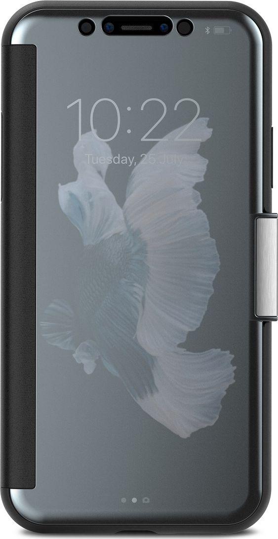 Moshi StealthCover чехол для iPhone X, Gray99MO102021StealthCover от Moshi для iPhone - это тонкий чехол-книжка, который обеспечивает защиту на 360 градусов, позволяя Вам проверять телефон на ходу. Чехол обладает противоударной защитой, соответствующей оборонным стандартам, а передняя крышка оснащена магнитной застежкой, чтобы Ваш сенсорный экран оставался защищенным в любое время. Прочный, но стильный, StealthCover имитирует стекло внешне и на ощупь, как у Вашего iPhone с опаловой отделкой для дополнительной утонченности. Созданный с учетом беспроводной зарядки iPhone, чехол не нужно снимать при зарядке. SteathCover от Moshi это идеальное слияние защиты, функциональности и стиля, а также у чехла ограниченная пожизненная гарантия от Moshi.ХарактеристикиЗащита Вашего iPhone на 360 градусов.???Противоударная защита, соответствующая оборонным стандартам США (MIL-STD-810G, SGS-certified).Магнитная застежка обеспечивает постоянную защиту телефона.???Проверяйте время и уведомления не открывая чехол.Поддерживает беспроводную зарядку.