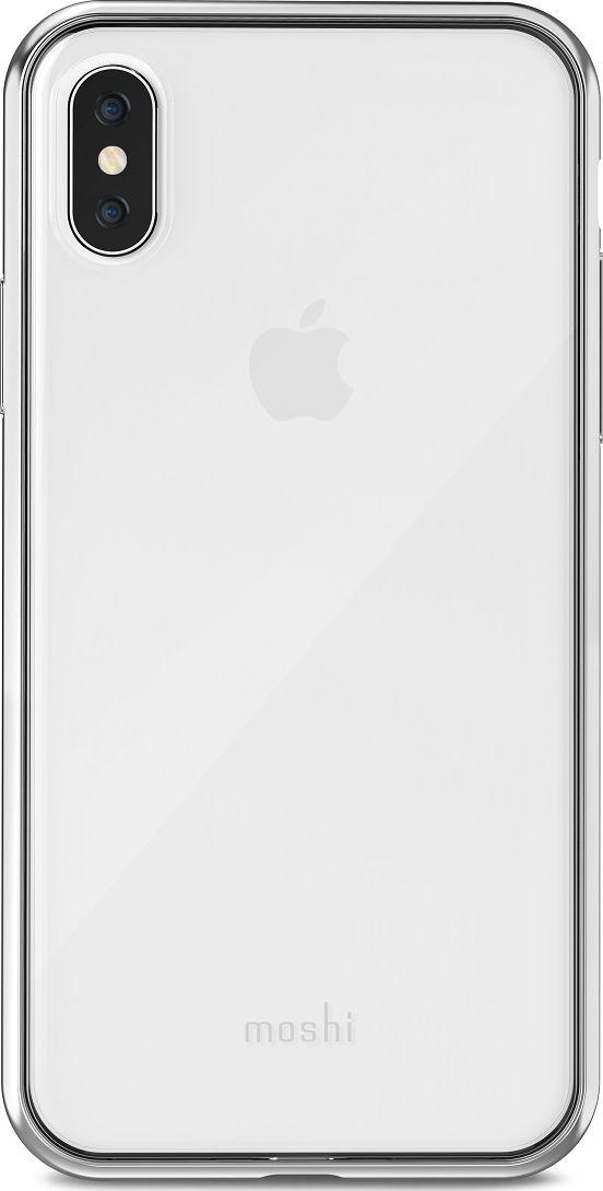Moshi Vitros чехол для iPhone X, Silver99MO103201Moshi Vitros это тонкий ударопрочный прозрачный чехол в минималистском стиле. Амортизирующая рамка чехла создана с использованием запатентованного процесса испарения металлов, для создания глянцевой поверхности, которая является одновременно стильной и защитной. Стильный чехол защищает ваш смартфон от царапин и ударов, а также поддерживает беспроводную зарядку вашего устройства. Созданный из полимера, этот чехол прошел тестирования на сопротивление истиранию, нагреву и изгибу, таким образом, он сохранит свой блеск на протяжении долгого времени. Приподнятые края защищают смартфон, когда он лежит экраном вниз, а также сохраняет свободный доступ ко всем кнопкам, портам и камере.
