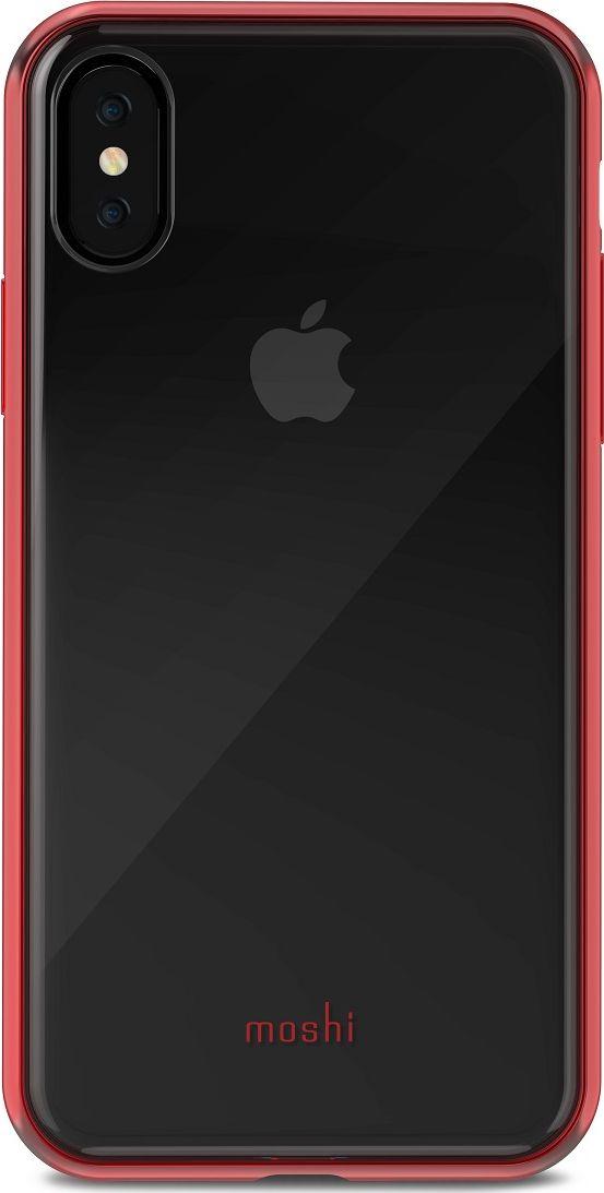 Moshi Vitros чехол для iPhone X, Crimson Red99MO103321Moshi Vitros это тонкий ударопрочный прозрачный чехол в минималистском стиле. Амортизирующая рамка чехла создана с использованиемзапатентованного процесса испарения металлов, для создания глянцевой поверхности, которая является одновременно стильной и защитной.Стильный чехол защищает ваш смартфон от царапин и ударов, а также поддерживает беспроводную зарядку вашего устройства. Созданный изполимера, этот чехол прошел тестирования на сопротивление истиранию, нагреву и изгибу, таким образом, он сохранит свой блеск на протяжениидолгого времени. Приподнятые края защищают смартфон, когда он лежит экраном вниз, а также сохраняет свободный доступ ко всем кнопкам,портам и камере.