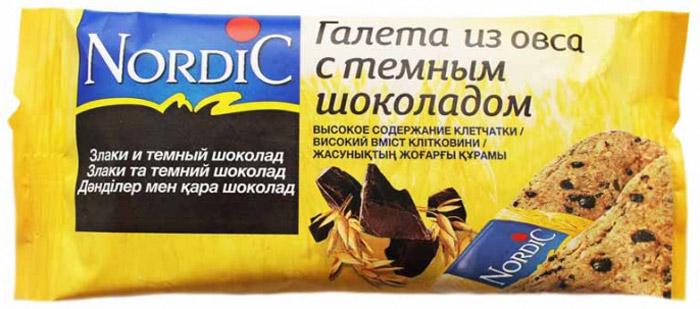Nordic галета из овса с темным шоколадом, 30 г6411200106777Вкусный полезный перекус, традиционный овсяный продукт (печенье из овса) по особой здоровой, полезной, финской рецептуре.Не очень сладкий продукт, не содержит молока и яиц.Удобная упаковка и все преимущества цельного зерна и овсяной каши в одной галете.