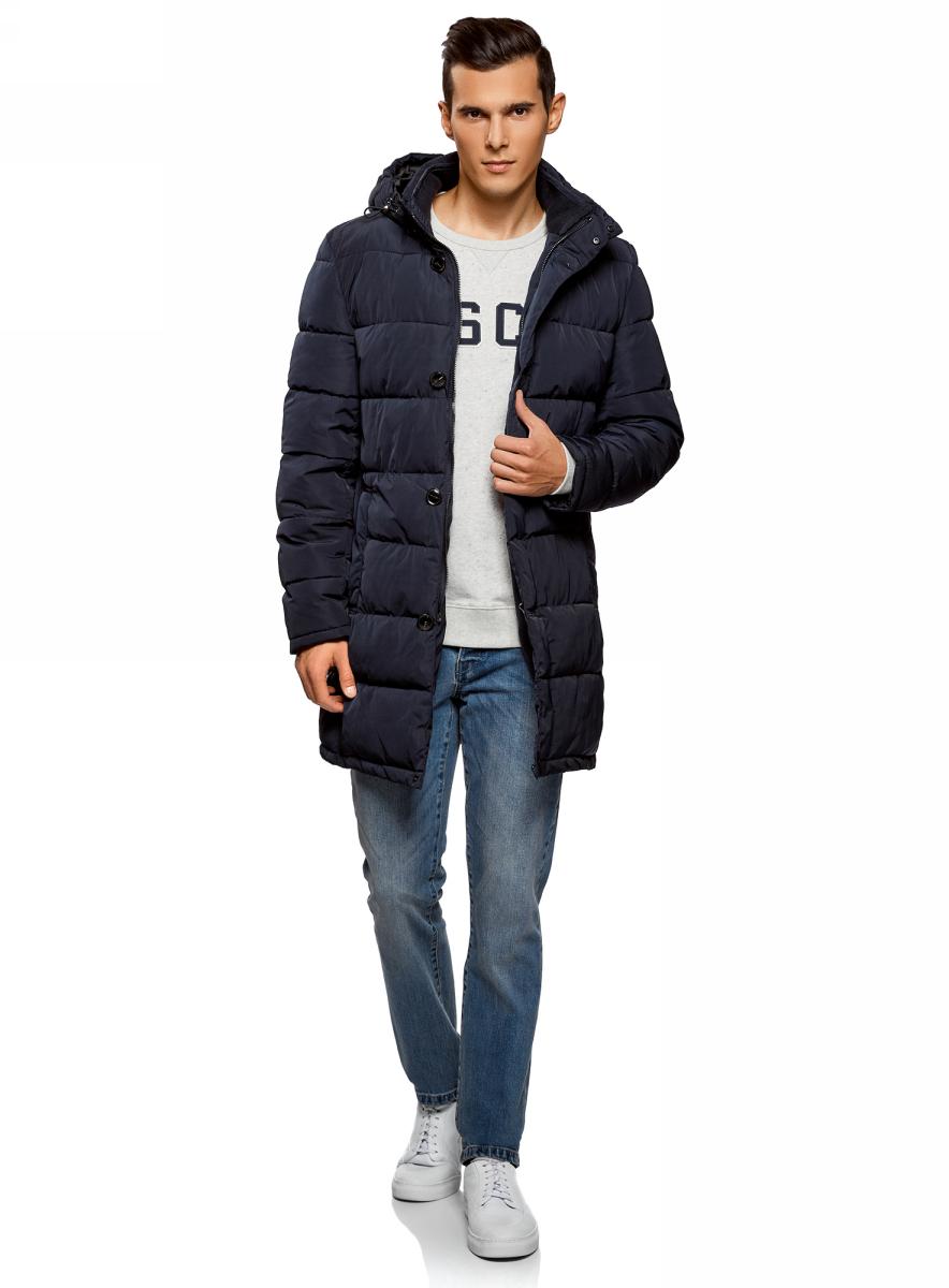 Куртка мужская oodji Lab, цвет: темно-синий. 1L116001M/39877N/7900N. Размер S-182 (46/48-182)1L116001M/39877N/7900N