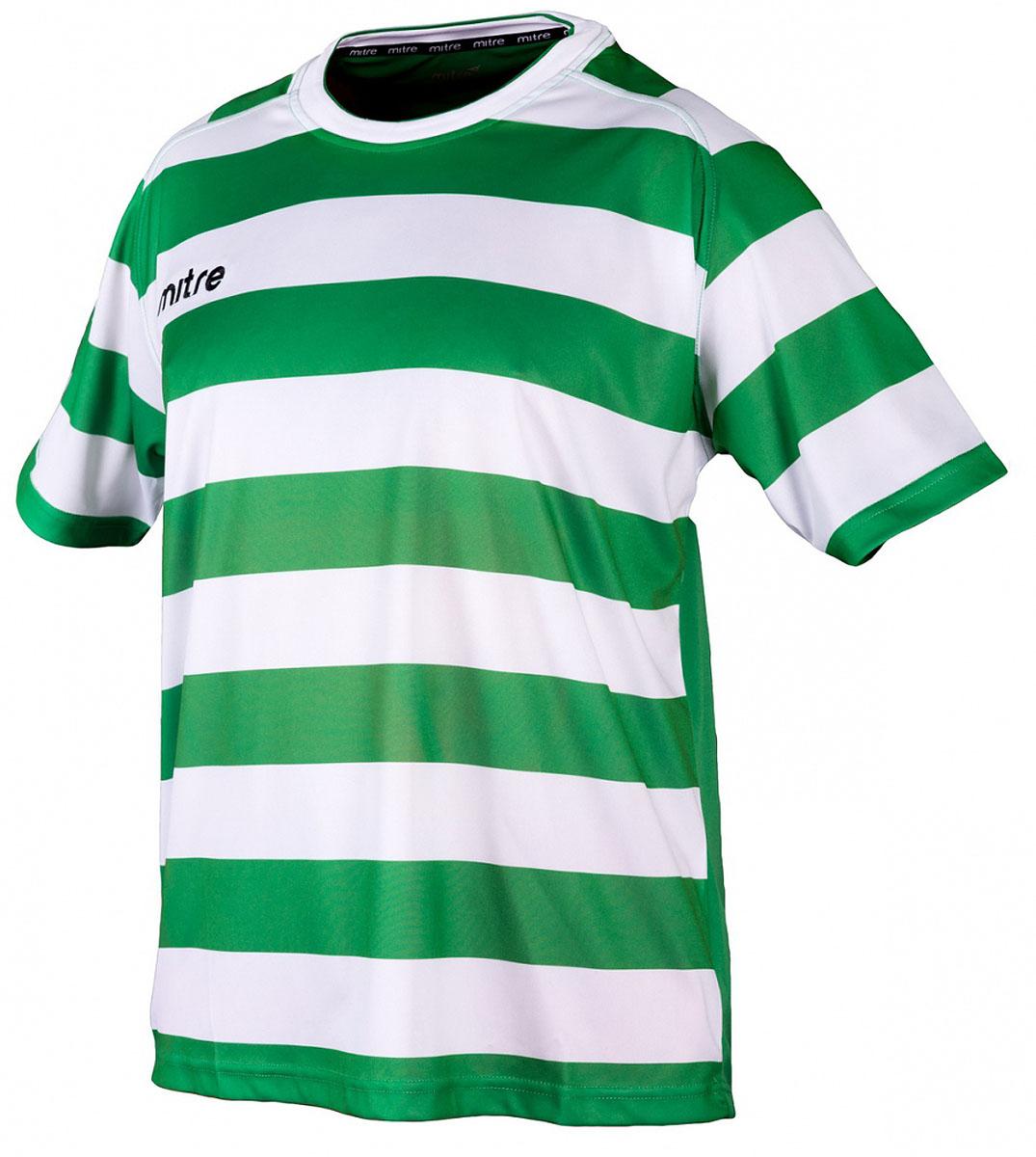 Футболка мужская Mitre, цвет: белый, зеленый. 5TT29024MGF9. Размер L (50/52)5TT29024MGF9Удобный эластичный ворот. Вышитый логотип Mitre. Состав: 100% полиэстер.