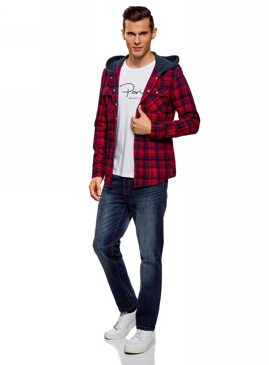 Куртка мужская oodji Lab, цвет: красный, синий. 1L515015M/47334N/4575C. Размер L-182 (52/54-182)1L515015M/47334N/4575C