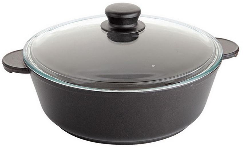 Жаровня Маруся, с крышкой, цвет: черный. Диаметр 28 см. МР7328жМР7328жЖаровня с антипригарным покрытием литая 4л, 28 см. со стеклянной крышкой (высота = 9 см, толщина стенок 4,5 мм, толщина дна 6 мм. Внутреннее и внешнее упрочненное трехслойное антипригарное покрытие GREBLON с минеральными частицами мрамора и гранита.