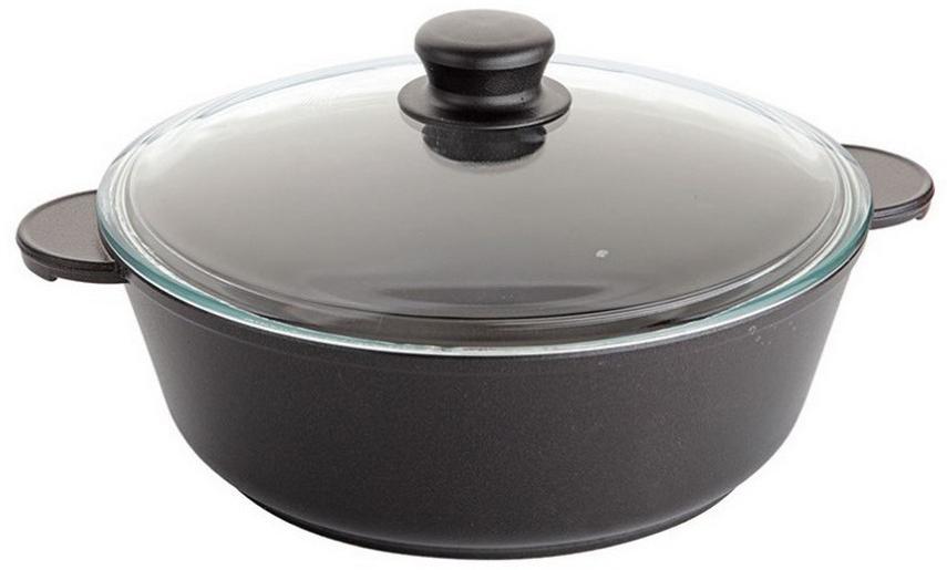 Жаровня Маруся, с крышкой, цвет: черный. Диаметр 32 см. МР7332жМР7332жЖаровня с антипригарным покрытием литая 5,5л, 32 см. со стеклянной крышкой (высота = 9 см, толщина стенок 4,5 мм, толщина дна 6 мм. Внутреннее и внешнее упрочненное трехслойное антипригарное покрытие GREBLON с минеральными частицами мрамора и гранита.
