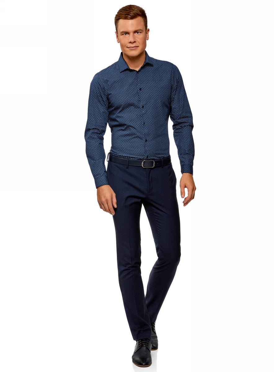Рубашка мужская oodji Lab, цвет: темно-синий, синий. 3L110284M/19370N/7975G. Размер 39-182 (46-182)3L110284M/19370N/7975G