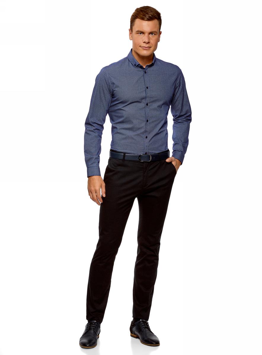 Рубашка мужская oodji Lab, цвет: темно-синий, синий. 3L110291M/19370N/7975G. Размер 39-182 (46-182)3L110291M/19370N/7975GМужская рубашка от oodji выполнена из натурального хлопкового материала. Модель приталенного кроя с длинными рукавами и отложным воротником застегивается на пуговицы.