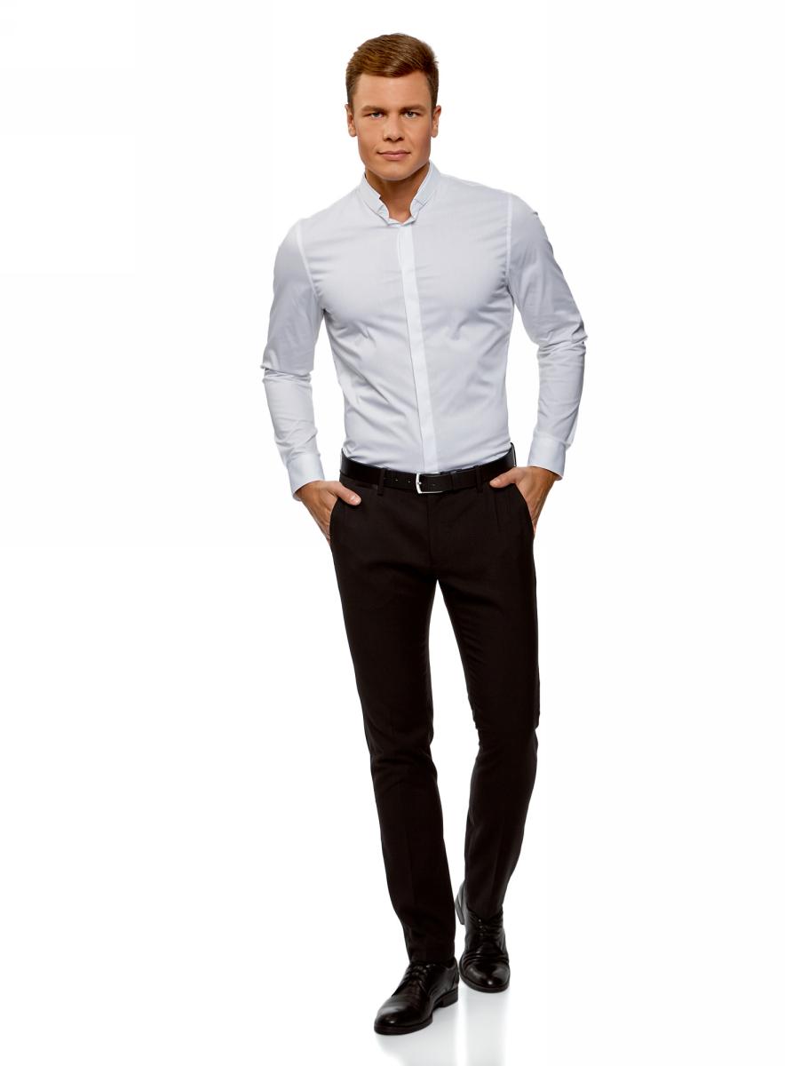 Рубашка мужская oodji Lab, цвет: белый. 3L140115M/34146N/1000N. Размер 39-182 (46-182)3L140115M/34146N/1000N