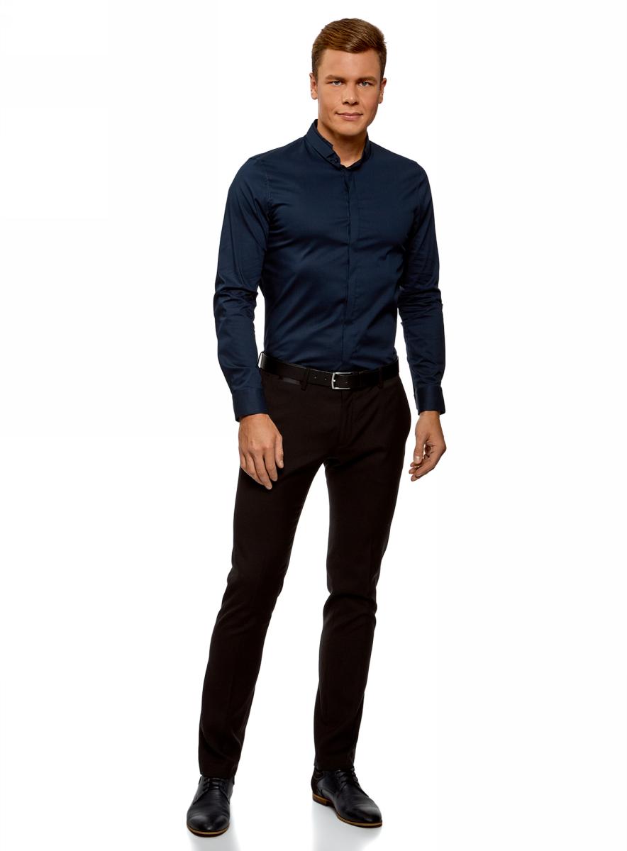 Рубашка мужская oodji Lab, цвет: темно-синий. 3L140115M/34146N/7900N. Размер 38-182 (44-182)3L140115M/34146N/7900N