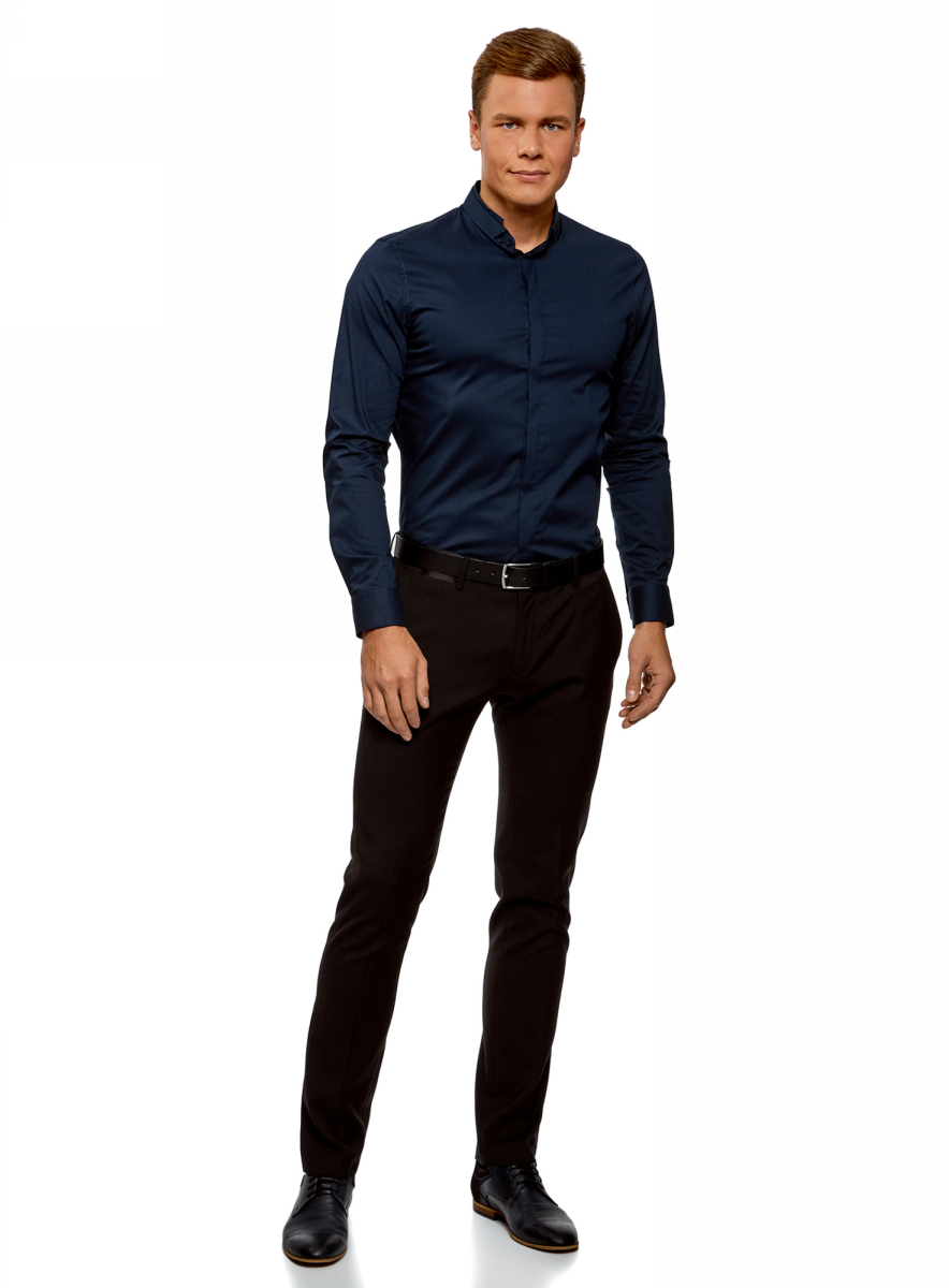 рубашка мужская oodji lab цвет красный темно синий 3l310145m 39511n 4579c размер l 182 52 54 182 Рубашка мужская oodji Lab, цвет: темно-синий. 3L140115M/34146N/7900N. Размер 38-182 (44-182)