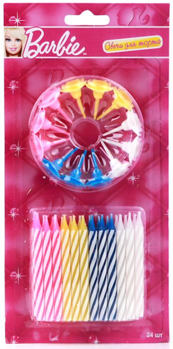 Веселый праздник Набор свечей для торта с держателями Barbie 24 шт товары для праздника поиск свечи для торта с держателями мини 24 шт