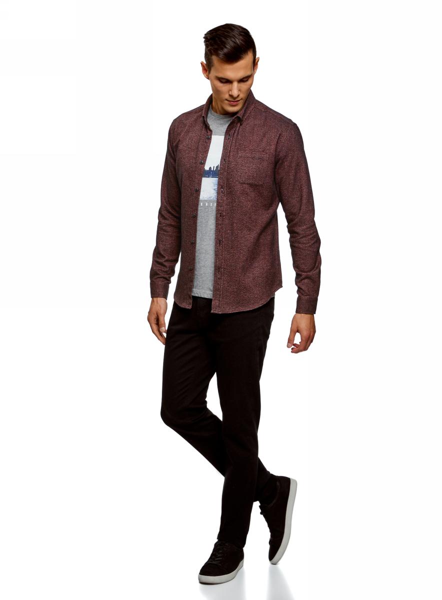 Рубашка мужская oodji Lab, цвет: черный, бордовый. 3L310154M/47384N/2949O. Размер L-182 (52/54-182)3L310154M/47384N/2949O