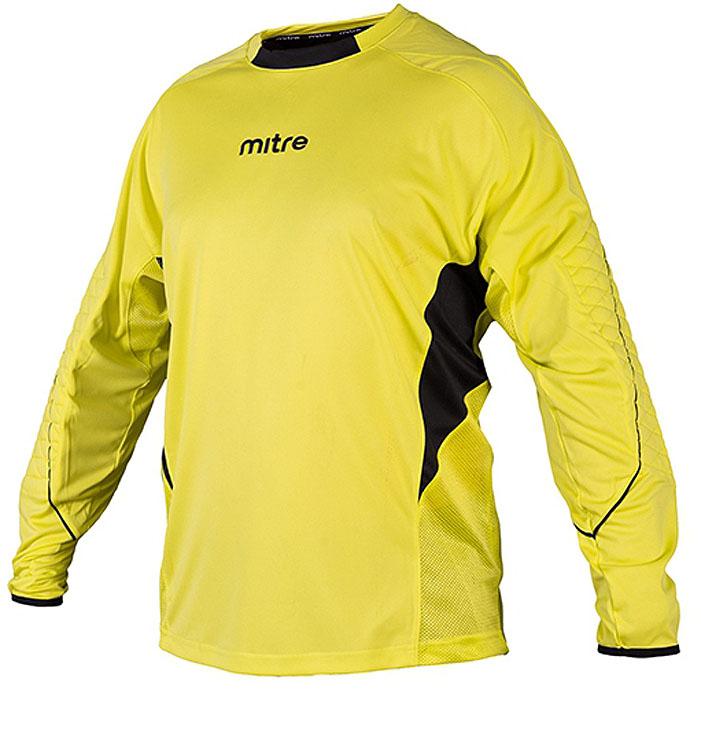 Свитер для мальчиков Mitre, цвет: желтый. TT29027. Размер 158TT29027Свитер вратаря Mitre. 100% полиэстер. Тканевая сеточка для вентиляции. Защитные элементы на локтях. Вышитый логотип Mitre.