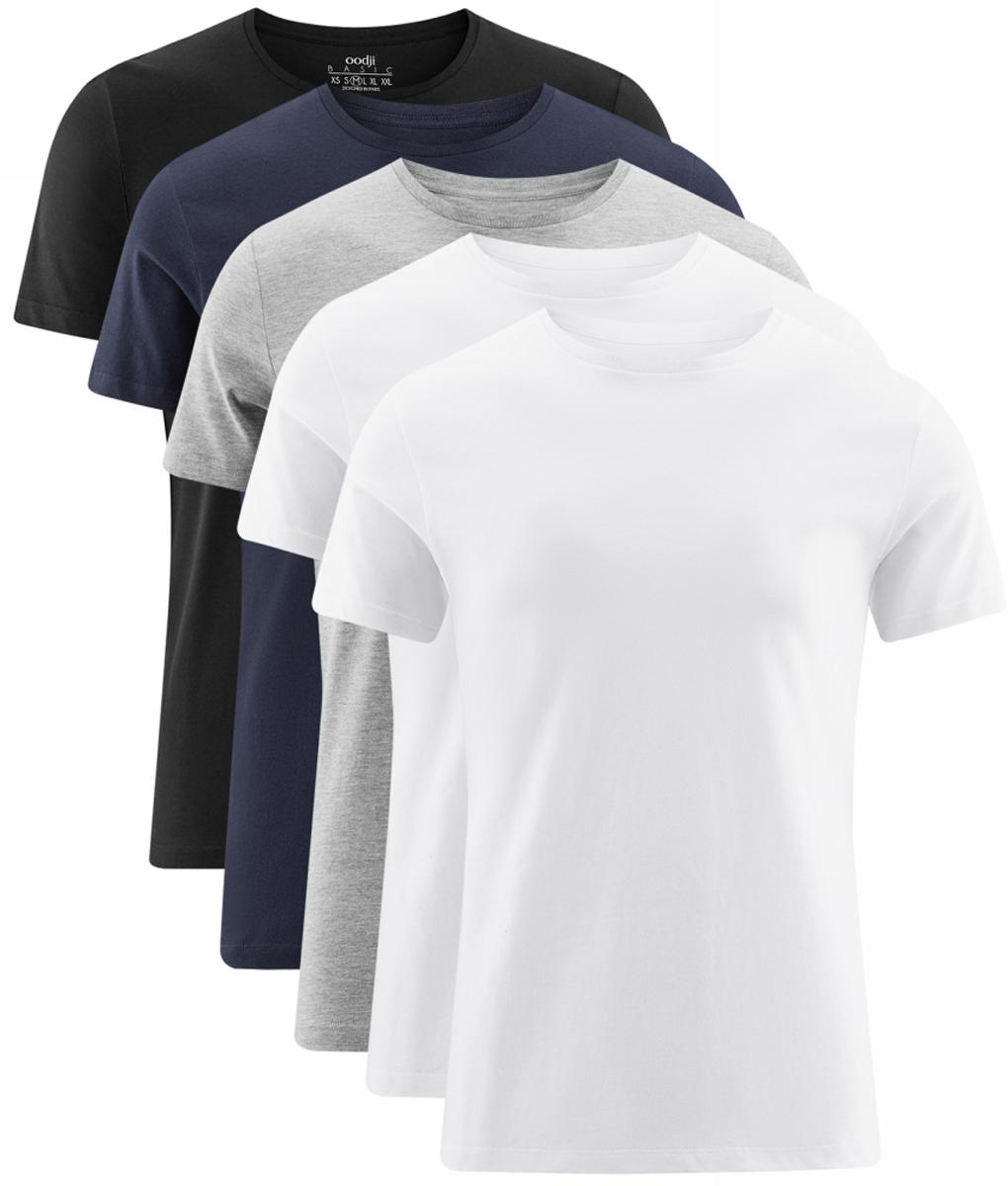 Футболка мужская oodji Basic, цвет: черный, темно-синий, серый, белый, 5 шт. 5B621002T5/44135N/1901N. Размер L (52/54)5B621002T5/44135N/1901NКомплект из пяти базовых футболок. Практичный набор с пятью одинаковыми футболками. Одного набора хватает на всю рабочую неделю. Вы можете каждый день надевать новую чистую футболку и не ждать, когда грязные вещи будут постираны. Футболки в комплекте прямого кроя, с небольшим полукруглым вырезом. Такой крой прекрасно смотрится на любой фигуре. Базовую футболку можно использовать в повседневных и спортивных луках. В ней удобно заниматься спортом в зале и на открытом воздухе. Футболку можно надевать в качестве домашней одежды. Она уместна в луках в стиле casual – с расстегнутой рубашкой и джинсами. Из обуви предпочтение рекомендуется отдавать спортивным моделям: кроссовки или кеды завершат образ.