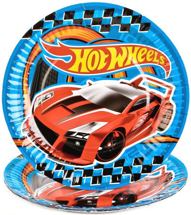Веселый праздник Набор тарелок Hot Wheels 18 см 6 шт hot wheels игровой набор невообразимый гараж купить