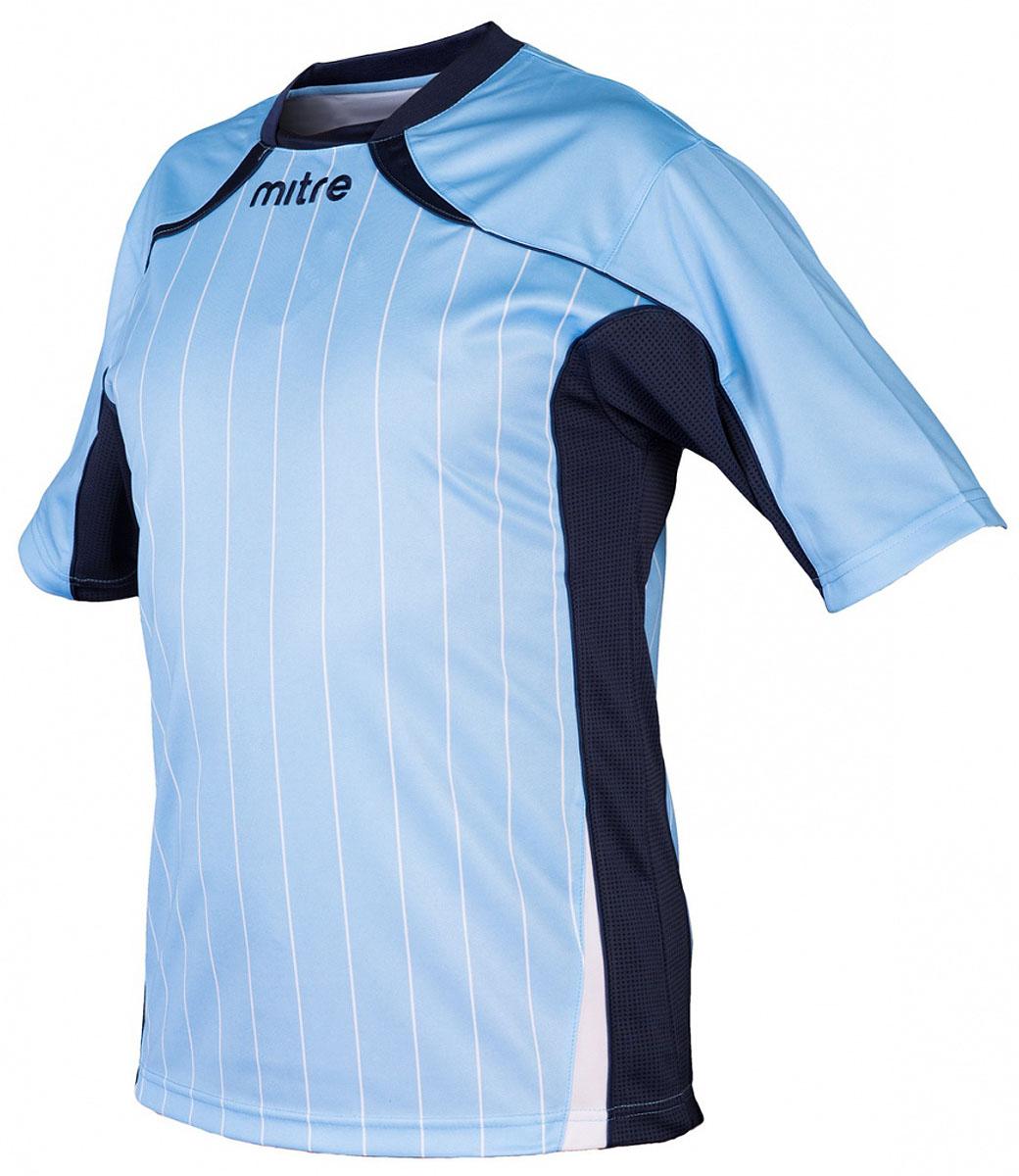 Футболка для мальчика Mitre, цвет: голубой. 5T40051BSKN. Размер 1585T40051BSKNФутболка для мальчика Mitre выполнена из полиэстера. Модель оснащена удобным эластичным воротом. Сетчатые полосы ткани по бокам футболки улучшают вентиляцию тела.