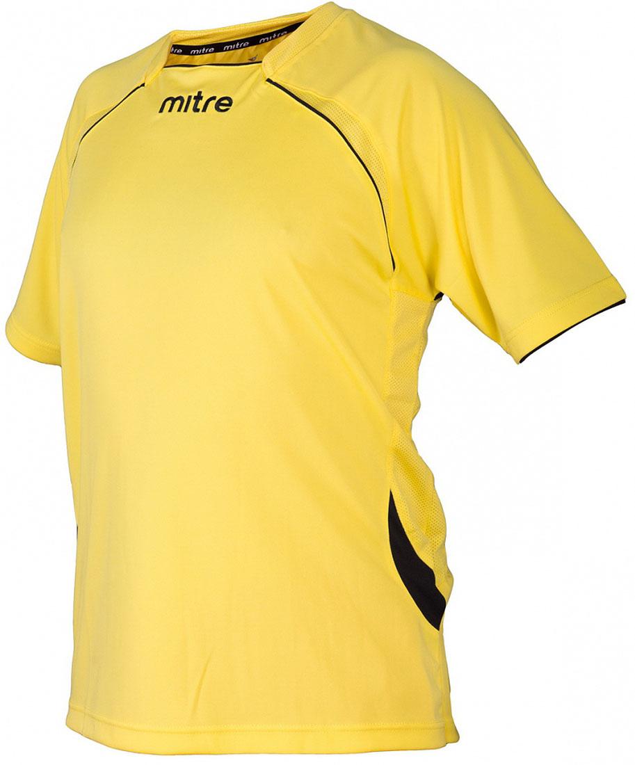 Футболка для мальчика Mitre, цвет: желтый. TT29019. Размер 158TT29019Футболка для мальчика Mitre выполнена из полиэстера. Модель с короткими рукавами и круглым вырезом горловины. Дополнительная мягкаятканевая сеточка на внутренней стороне воротника не позволит натереть шею.Сетчатые полосы ткани по бокам и в верхней части спины футболки улучшаютвентиляцию.