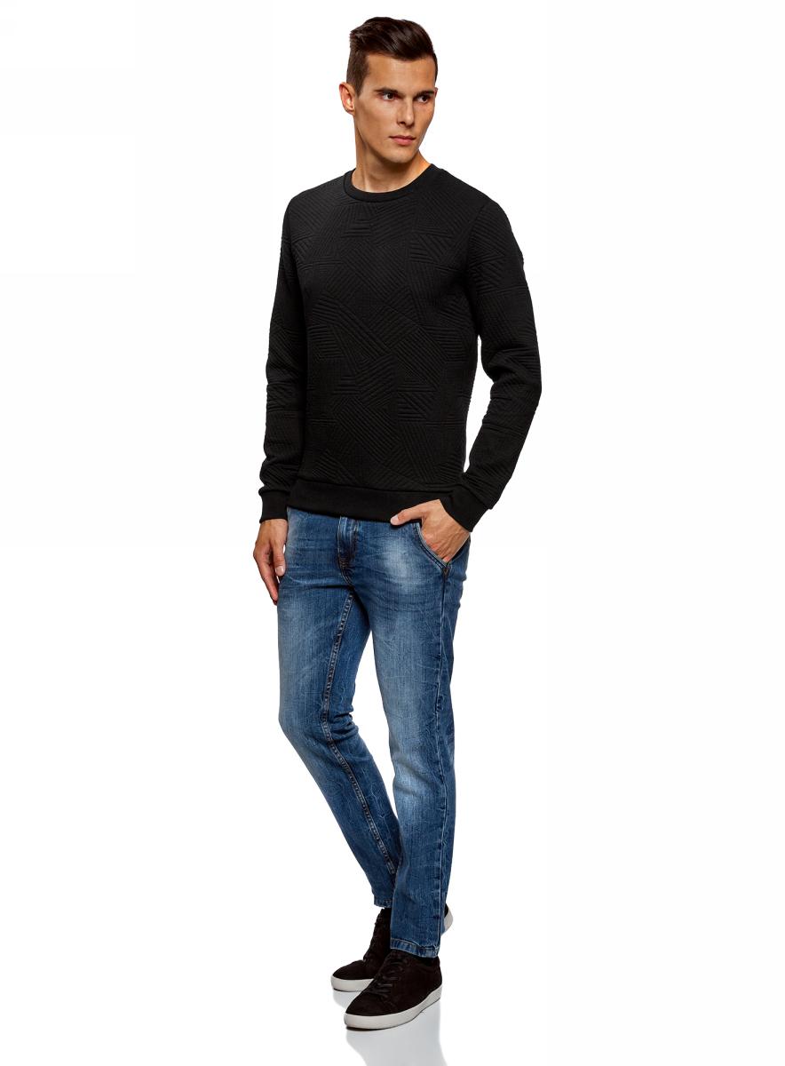 Свитшот мужской oodji Lab, цвет: черный. 5L113105M/47395N/2900N. Размер S (46/48) платье oodji collection цвет черный белый 24001104 1 35477 1079s размер l 48