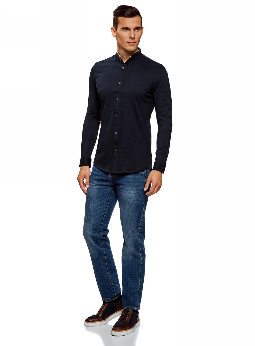 Рубашка мужская oodji Lab, цвет: темно-синий. 5L302000M/34149N/7900N. Размер S (46/48)5L302000M/34149N/7900NМужская рубашка от oodji выполнена из натурального хлопка. Модель приталенного кроя с длинными рукавами и воротником-стойкой застегивается на пуговицы.