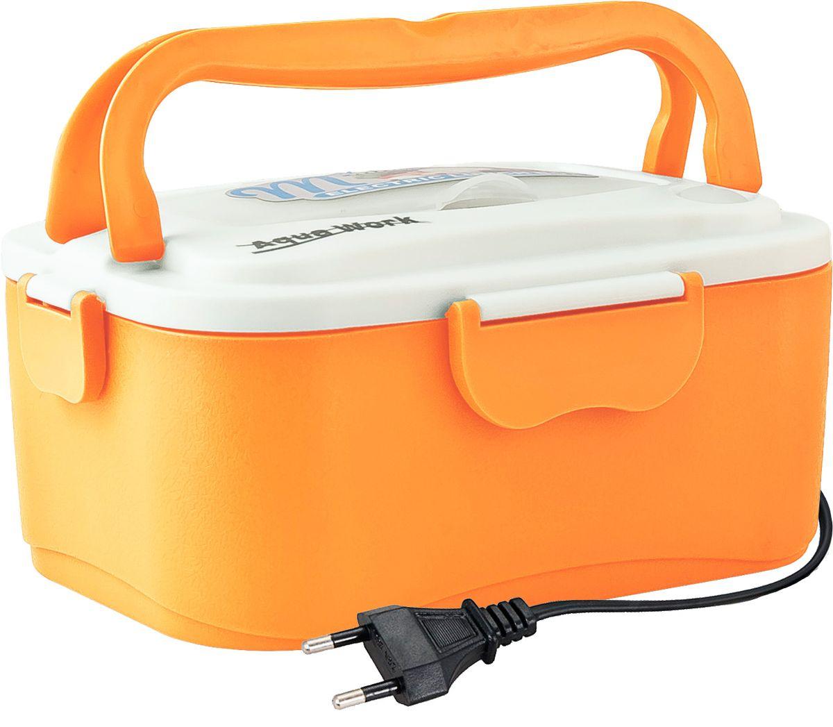 Aqua Work С5, Orange ланчбокс с подогревом 220В12734Разогрев содержимого от 5 минут (в зависимости от количества содержимого)Изготовлен из высококачественного пищевого пластика и нержавеющей сталиУдобная ручка для переносаНадежное крепление крышкиКомфортное хранение содержимогоПластиковая ложка, вилка, палочки (расположены в специальном отделении в крышке)Общая емкостью - 1,05 литра, в том числе отдельный контейнер с крышечкой (емкость 0,45 литра)Питание от сети 220 вольт.