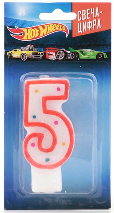 Веселый праздник Свеча для торта Hot Wheels Цифра 5 susy card свеча цифра для торта 3 года цвет синий