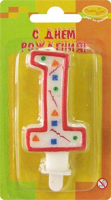 Пати Бум Свеча для торта Цифра 1 Конфетти цвет красный